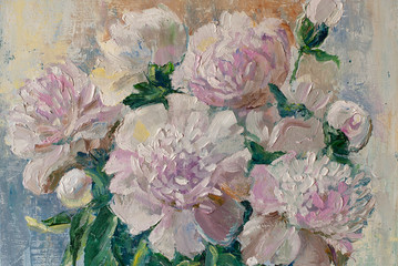Panel Szklany Peonie Oil painting on canvas: white peonies