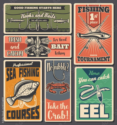 Fishing sport, fisher tackles shop © Vector Tradition