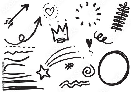 Fototapety, obrazy: set of Hand drawn design elements. vector illustration.