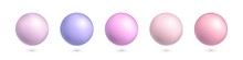 Vector Set Of 3d Balls In Pastel Colors Isolated On White Background. Collection Of Realistic Vector Balls. Colorful Spheres For Decoration, Holiday, Design Element, Love, Pearl Decoration.