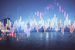 canvas print picture - Financial graph on night city scape with tall buildings background double exposure. Analysis concept.