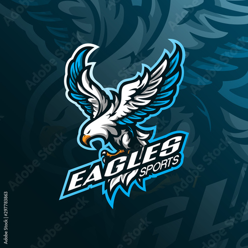 eagle mascot logo design vector with modern illustration concept style for badge, emblem and tshirt printing Tablou Canvas