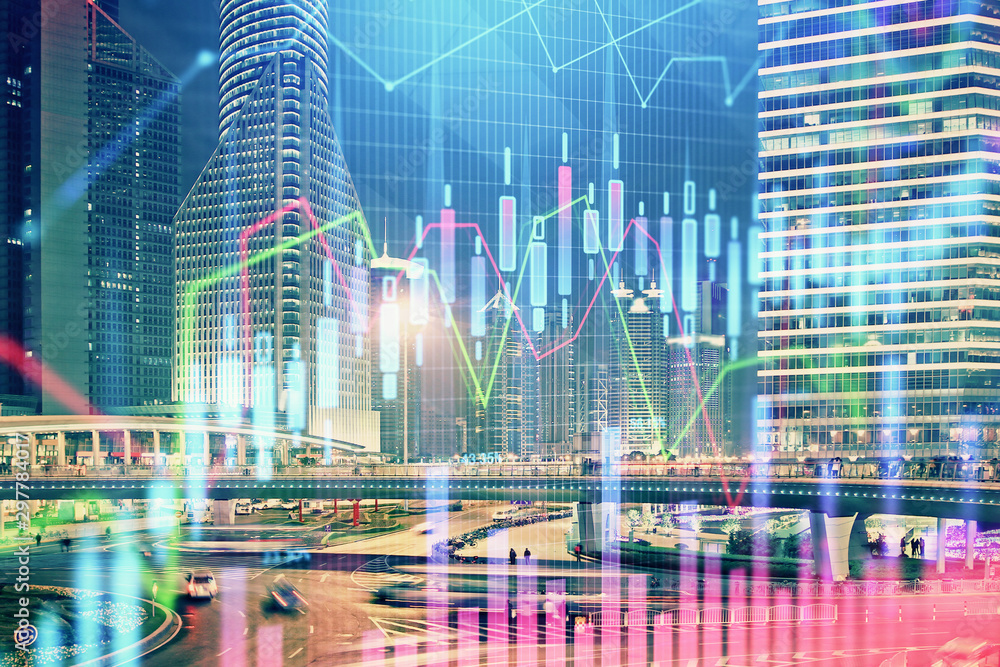 Fototapety, obrazy: Financial chart on city scape with tall buildings background multi exposure. Analysis concept.