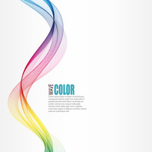 Abstract Vertical Smoky Color Wave On A White Background. Design Element