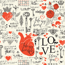 Vector Seamless Pattern On The Theme Of Love And Valentine Day In Retro Style. Abstract Background With Red Hearts, Roses, Keys, Keyholes, Cupids And Handwritten Inscriptions On Light Backdrop.