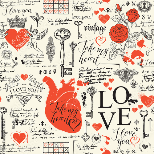 Canvas Vector seamless pattern on the theme of love and Valentine day in retro style