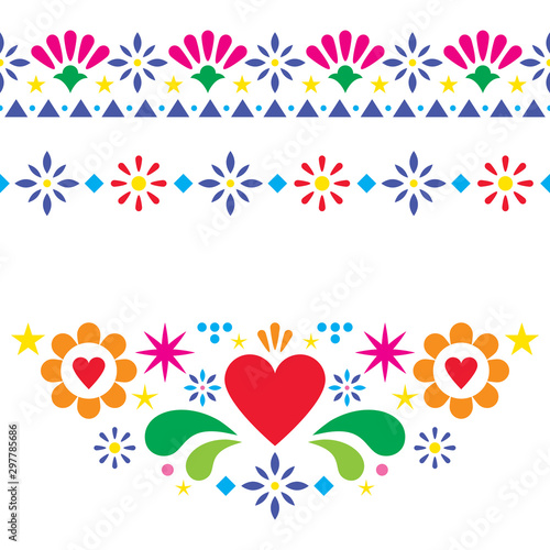 Obraz na plátně  Mexican floral and abstract vector design elements, colorful traditional folk ar