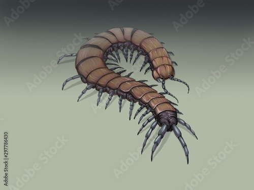 The brown fantasy centipede drawing Fototapete