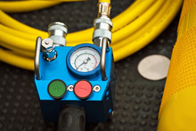 Yellow Oxygen Balloon. Equipment For Firefighters. The Device Showing Pressure In A Balloon.
