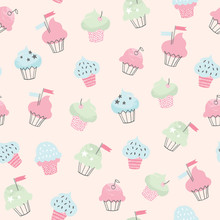 Cupcake Vector Pattern. Hand Drawn Cute Cupcakes Seamless Background. Party, Birthday, Greeting Cards, Gift Wrap, Stationery.