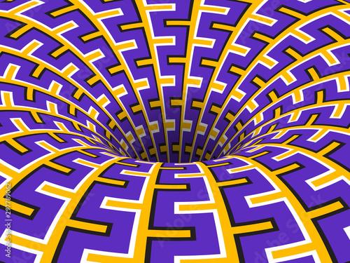 Fotografía Rotating hole of moving purple yellow ornament