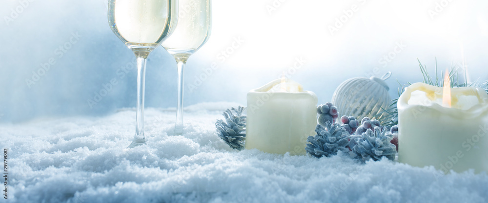 Fototapety, obrazy: Winter still life with champagne