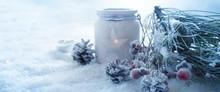 Frosty Blue Winter Still Life