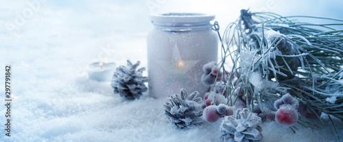 Frosty blue winter still life Fototapete