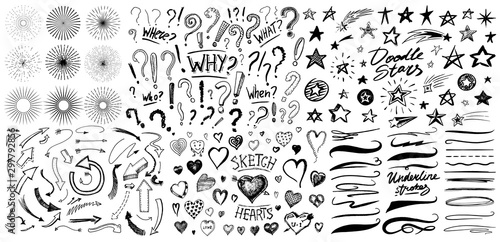 Fotografia Question exclamation mark, underline and hearts, Star and Marker Brush, artistic lines and strokes