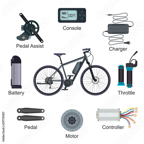 Electric bike vector e-bike transportation with ecologic cycle battery power energy illustration set of ebike ecological biking pedal-assist charger console throttle isolated on white background