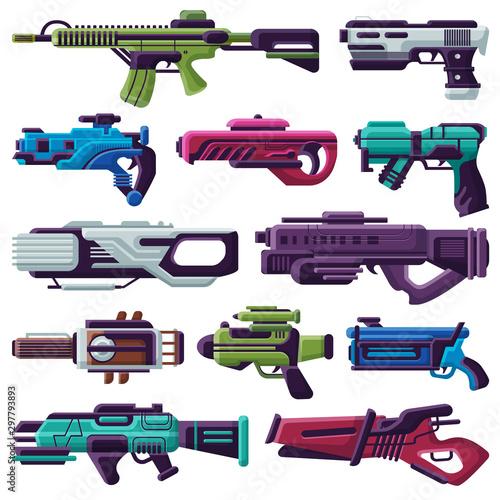 Weapon vector spacegun blaster laser gun with futuristic handgun and raygun of a Canvas Print