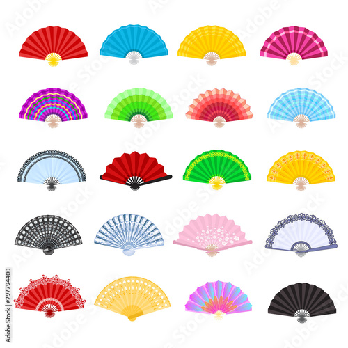 Hand fan vector traditional Japanese accessory and Chinese decoration folding handheld-fan illustration set of open Asian culture design object isolated on white background - 297794400