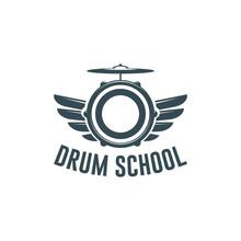 Vector Logo Of Drum School. Lo...