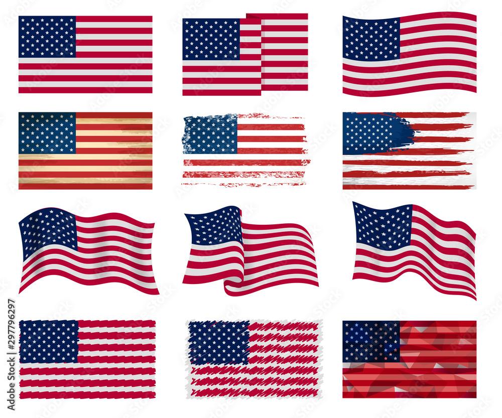 Fototapeta USA flag vector american national symbol of united states with stars stripes illustration freedom independence set of flagged patriotic emblem isolated on white background