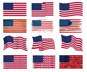 USA flag vector american national symbol of united states with stars stripes illustration freedom independence set of flagged patriotic emblem isolated on white background
