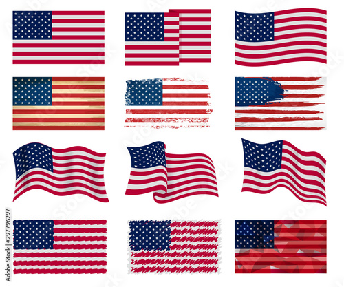 Fototapeta USA flag vector american national symbol of united states with stars stripes illustration freedom independence set of flagged patriotic emblem isolated on white background obraz