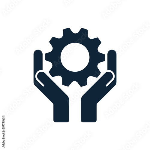Hands with cog wheel or gear icon. Fototapet
