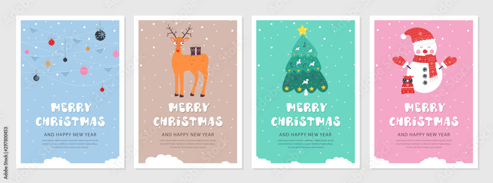 Fototapeta Set of Christmas and New year snow postcards. Flat holiday postcard template. Collection color postcards with deer, christmas tree, christmas decoration and snowman