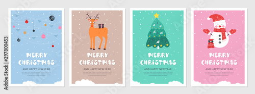 Obraz Set of Christmas and New year snow postcards. Flat holiday postcard template. Collection color postcards with deer, christmas tree, christmas decoration and snowman - fototapety do salonu
