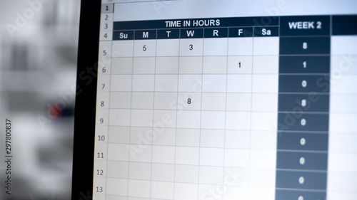 Time management table on computer screen, online visiting log, time in hours Canvas Print