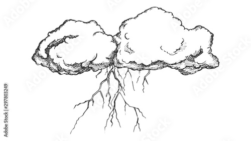 Fotografie, Obraz  Storm Cloud With Flash Lightning Monochrome Vector
