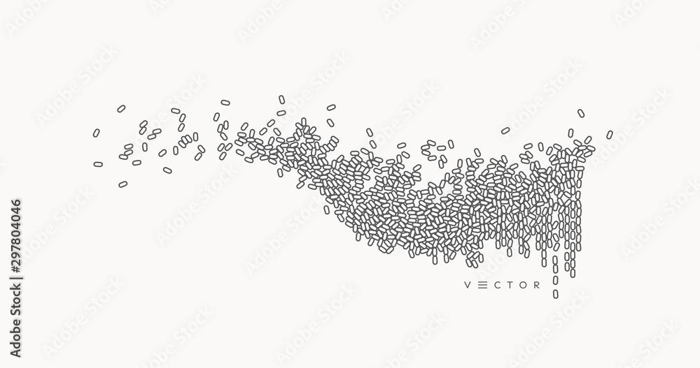 Fototapeta Sound wave. Vector illustration with dynamic effect.