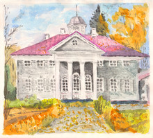 Manually Made Watercolor Painting Or Illustration Of Old Estate With Colomns And Portico And Autumn Background
