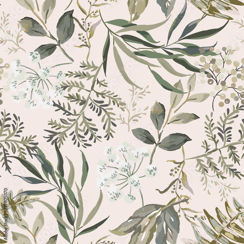 Tapeta do salonu  forest-autumn-dark-greenery-background-vector-seamless-pattern-gray-leaves-fern-print-floral-design-nature-illustration