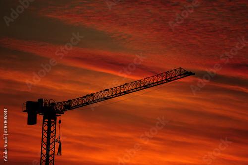 Il traliccio della gru al tramonto Canvas Print