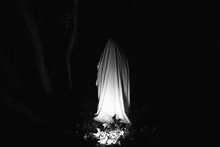 Ghost At Night Outdoors In Pink Lights. Halloween Costume Idea. Horror Film Concept. Scary Things In The Forest. Autumn Feasts Of All Saints Eve.