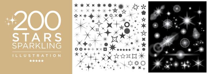 Set of star sparkling