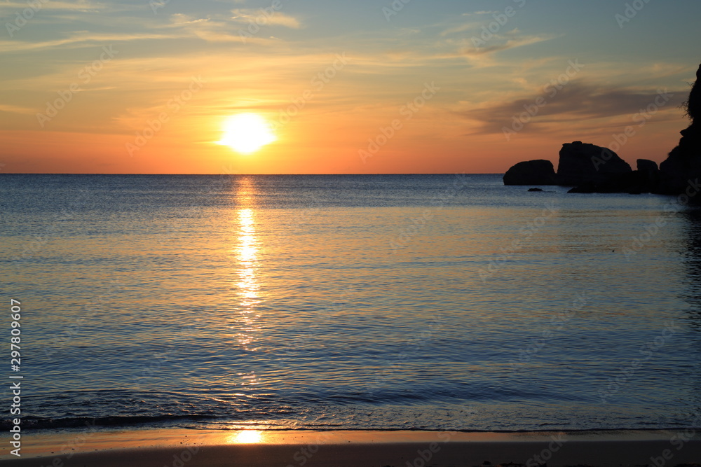 Fototapety, obrazy: Sunrise in Sicily over the Mediterranean Sea