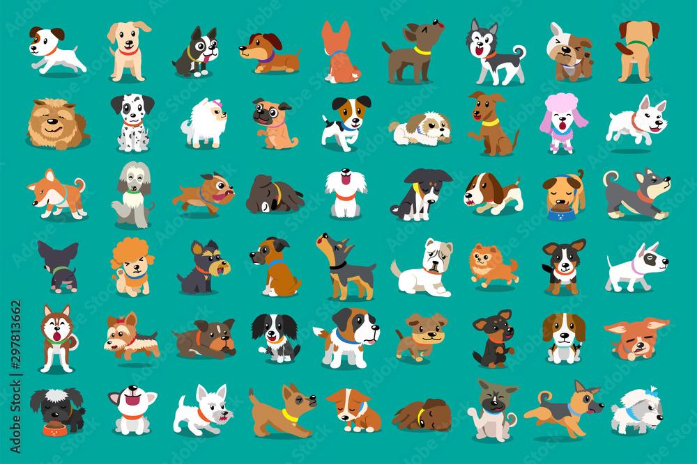 Fototapeta Different type of vector cartoon dogs for design.