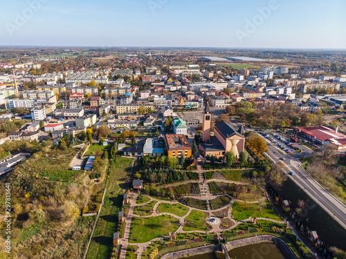 Fotografia, Obraz Sochaczew, widok z lotu ptaka na centrum miasta