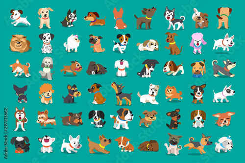 obraz lub plakat Different type of vector cartoon dogs for design.