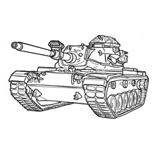 Battle Tank Drawing On White Background.