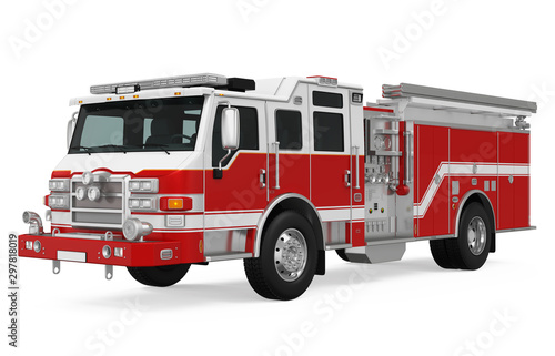 Fire Rescue Truck Isolated Poster Mural XXL