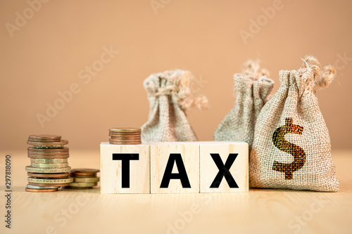 Fotografie, Obraz  Tax wording on wooden cubes with US dollar coins and bag.
