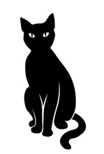 Black Sitting Cat. Vector Black Silhouette.