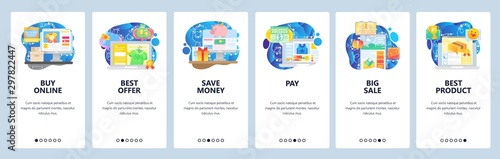 Obraz Mobile app onboarding screens. Buy products online, internet store sale, payment, savings. Menu vector banner template for website and mobile development. Web site design flat illustration - fototapety do salonu