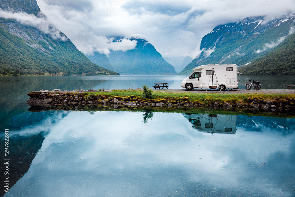 Fototapety, obrazy: Family vacation travel RV, holiday trip in motorhome