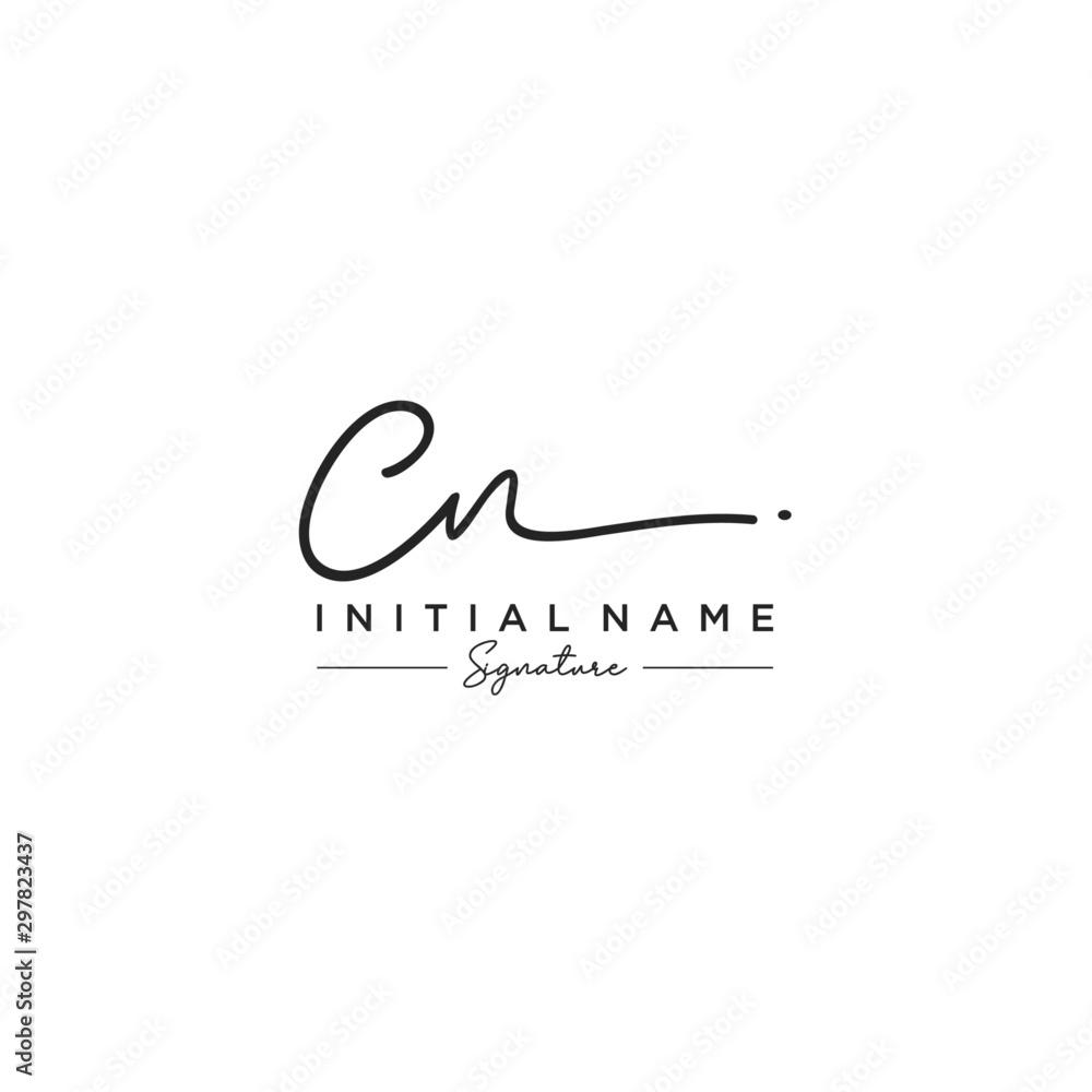 Fototapety, obrazy: Letter CN Signature Logo Template Vector