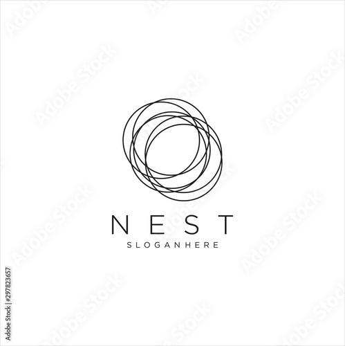 Fototapeta Modern Simple Vector Bird Nest Logo Design Template. nest Logo Vector Stock obraz