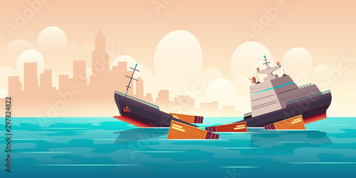 Shipwreck of cargo ship, vessel sinking in ocean with goods containers going und Canvas Print